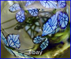 STEVEN LUNDBERG Blue Monarch Butterflies LTD Vase Paperweight, Apr 8.5Hx3.5W