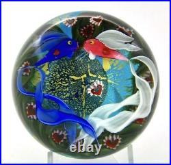 STEVEN LUNDBERG Fish Couple Underwater Art Glass Unique Paperweight, Ap 3Hx3.5W