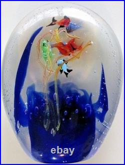 STUNNING Dreamy Italian Murano Aquarium Fish Seahorse Bubble Paperweight 7.5