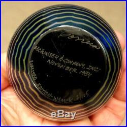 STUNNING! Vintage CORREIA Art Glass IRIDESCENT SEAGULLS MOON & WAVES Paperweight