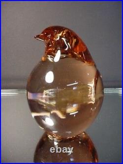 Scarce Signed Seguso Glass Vintage Penguin Peach Paperweight Murano Eames Era