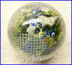 Signed Simpson Inhabited Planet Art Glass Paperweight 7.10 1990