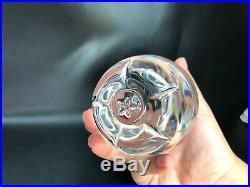 Signed Steuben Clear Crystal Large Apple Fruit Stem Art Glass Paperweight 4 VTG