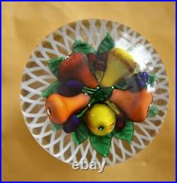 St. Louis Fruit Piedouche Paperweight Signed & Dated 1985 Saint Louis