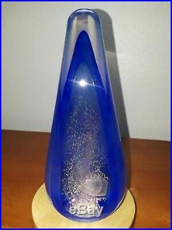Stuart Abelman Art Glass Signed Paperweight Iridescent Dichroic Pyramid 1990 Vtg