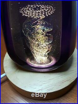 Stuart Abelman Art Glass Signed Paperweight Iridescent Dichroic Pyramid 1993 Vtg