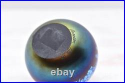 Studio Art Glass iridescent lustre signed Richardson paperweight figurine vtg