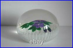 Stunning Vintage Selkirk Paperweight 2 x Violet Poinsettia/2 buds on Latticino