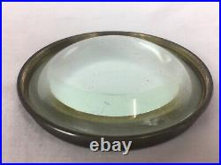 Substantial Antique Brass Table Magnifying Glass / Paper Weight