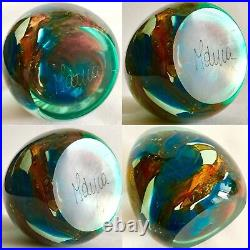 Superb Rare Signed Heavy (850g) Mdina Glass Abstract Design 4/10cm Paperweight