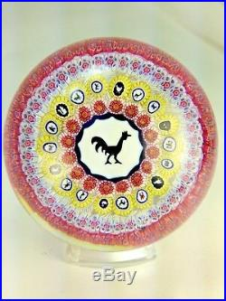 Superb Vintage Baccarat 1971 Gridel Rooster & Concentric Millefiori Paperweight