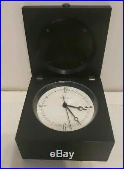 Tiffany & Co Vintage Black Desk Square Swiss Paperweight Mantel Clock