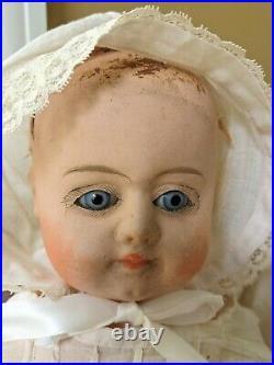 Unique Antique Papier Mache Doll marked 3/0 Paperweight Glass Eyes German 21