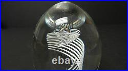 Unusual Steuben Crystal Art Glass White Latticino Swirl Paperweight, Signed