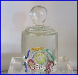 Unusual Vintage Murano Italian Millefiori Art Glass Knob Paperweight