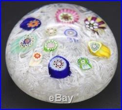 VIBRANT Vintage PERTHSHIRE Scattered MILLEFIORI Latticino Art Glass PAPERWEIGHT