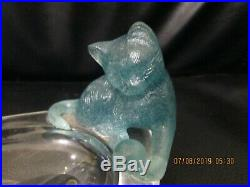 VINTAGE Daum Aqua Pate De Verre Cat With Ball Dish Figurine Paperweight Trinkets