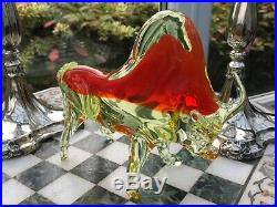 VINTAGE RARE MURANO URANIUM Glass Bull Sommerso Red DESK PAPERWEIGHT collectors