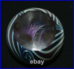 VTG 1986 Signed John Lotton Art Glass Paperweight Purple & Iridescent Swirls
