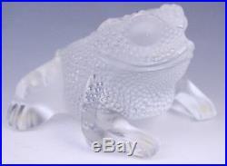 VTG Artist Signed Lalique French Art Crystal Gregoire Frog Figurine Paperweight