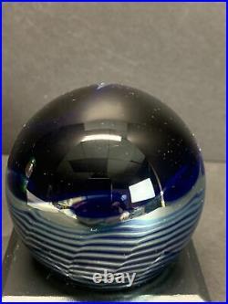 VTG CORREIA Art Glass Paperweight Blue Base Sliver Moon Waves Signed 1984 Rare