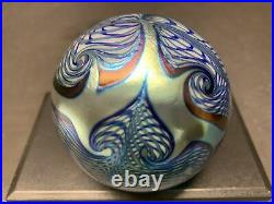 VTG CORREIA Art Glass Paperweight Iridescent Pulled Feather Flower Signed Rare