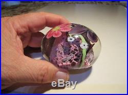 VTG Ed Alexander Studio Art Glass Multi Floral Paperweight