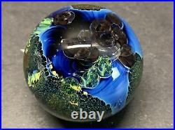 VTG Josh Simpson Inhabited Planet Art Glass Paperweight 2002 Signed Set Of 2