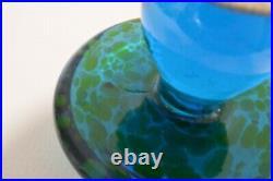 VTG Large 5.5 BLENKO Blue Yellow Green SPOTS Art Glass MUSHROOM Mid Century MCM