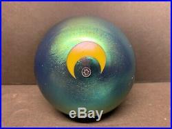 VTG Lundberg Studios Iridescent Art Glass Paperweight Cobalt Blue Moon Star