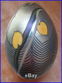 VTG. ORIENT AND FLUME GOLDEN EGG PAPERWEIGHT Yellow Hearts, Pulled Feather, 1977