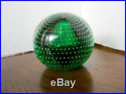 VTG PAIRPOINT Art Glass CONTROLLED BUBBLE Crystal 2.5 PAPERWEIGHT Green RARE
