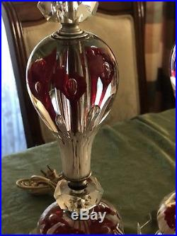 VTG Pair Large Joe St. Clair Art Glass Paperweight Lamp Ruby Red Trumpet Flowers