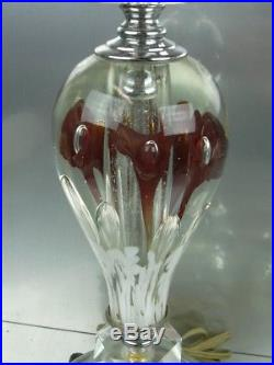 VTG Pair Large St. Clair Art Glass Paperweight Lamps Ruby Red Trumpet Flowers