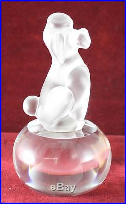 VTG Sevres France Poodle Crystal Clear Frosted Art Glass Figurine Paperweight