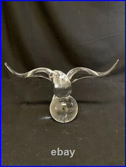 VTG Steuben Clear Glass Eagle Sitting On Globe Art Glass Paperweight