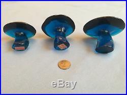Viking Blue Glass Mushroom 3 PC Set Rare Bluenique Art Vintage Paperweights