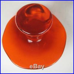 Viking Glass Mushroom Jumbo Persimmon Orange Size 5.4 Inch VTG 60s MOD Art