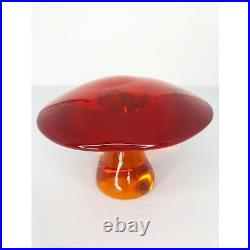 Viking Glass Mushroom Jumbo Persimmon Orange Size 5.5 Inches Vintage 60s
