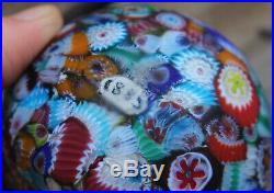 Vintage 1885 Matte Millefiori Scrambled Cane Art Glass Marble Paperweight Murano