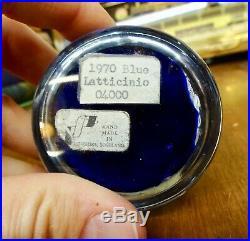 Vintage 1970 Blue LATTICINO Art Glass Paperweight Perthshire Scotland Label