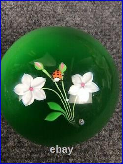 Vintage 1976 Baccarat limited edition flower ladybug glass paperweight