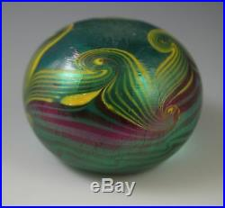 Vintage 1976 Vandermark Paperweight Pulled Feather Iridescent Signed