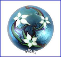Vintage 1978 Iridescent Orient & Flume California Studio Art Glass Paperweight