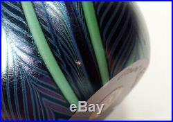 Vintage 1979 Iridescent Orient & Flume California Studio Art Glass Paperweight