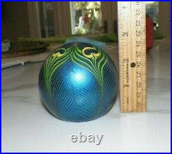 Vintage 1980 Orient & Flume Blue & Green Pulled Feather Paperweight 2 3/4