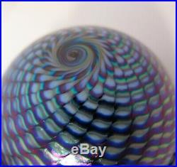 Vintage 1991 Purple Iridescent Abelman Paperweight Thousand Swirls Eye