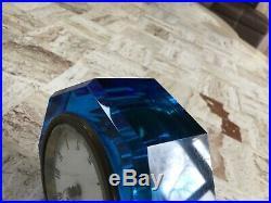 Vintage/Antique F W Welch 1881 Victorian Art Glass Blue Jewel Clock Paperweight