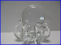 Vintage Art Crystal Clear Glass Modernist Sculpture Paper Weight Octopus Sea