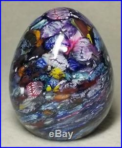 Vintage Art Glass Cape Cod Glass Works Egg Form Scramble Millifiori Paperweight